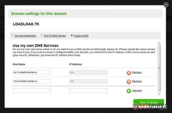 Паркуем бесплатный домен tk на InstallMonster